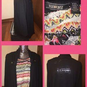 ELEMENTZ Women's Petite XLARGE 3/4 Sleeve Top Blk